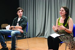 """Emily Sky CarlsonDan Poppen and Lo Miles, in rehearsal for """"Come on Over"""" at the University of Idaho."""
