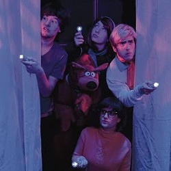 """The Regional Theatre of the Palouse production of """"Scooby-Doo and the Abandoned Mansion"""" features (clockwise from left) Garret McClure as Shaggy, Megan Bloom as Daphney, Jasper Barbosa Rodriguez as Fred and Alyssa Dalbeck as Velma. Alma Robles as Scooby Doo is at center."""