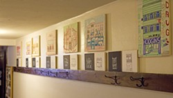 """Dean Hare/Daily-NewsKristin Carlson Becker's """"Good(bye) Buildings"""" Moscow artwork is on display in the Moscow Yoga Center, as seen Aug. 8. - DEAN HARE"""