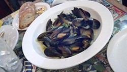 Steamed Mussels finished with Chardonnay.
