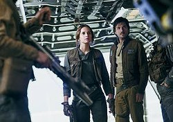 """Felicity Jones and Diego Luna (right) star in """"Rogue One: A Star Wars Story."""""""