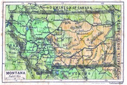 Lisa Middleton of Kalispell, Mont., digitally rehabiliates old maps like the one above. She restores them to their original black and white condition and then adds color with watercolor paints, pastels, and color pencils.