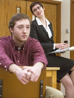 """Woman, right, played by Chelsea Gilpin, asks Man, played by Brian Linnenkamp, a question during a therapy session during rehearsal for the Washington State University drama production of """"The Treatment."""" - DEAN HARE"""