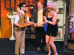 Higginson (L), Mushnik played by Randy Emerson (middle) and Audrey played by Olivia M. Calza (R) . - GARY BREEDLOVE