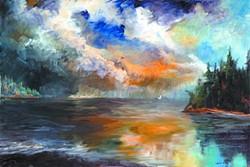 """San Juan Islands Sunset"" ? Boise artist Chi E Shenam Westin does plein air paintings of western landscapes on gessoed wood, aluminum or canvas. - EVERMORE PRINTS"
