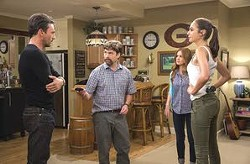 """Stars of """"Keeping Up With the Joneses"""" are (from left) Jon Hamm, Zach Galifianakis, Isla Fisher and Gal Gadot."""