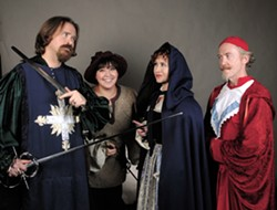 Players in the Three Musketeers production by the Lewiston Civic Theater include Matthew DeBerard as Athos, Kayla Comer as Sabine, Rebecca Hardin as Milady and Paul Segren as Cardinal Richelieu. - TRIBUNE/BARRY KOUGH