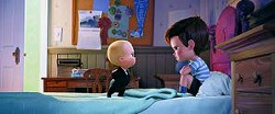 """Characters Boss Baby (left), voiced by Alec Baldwin and Tim, voiced by Miles Bakshi, appear in a scene from the animated film """"The Boss Baby."""" -- DreamWorks Animation via AP"""