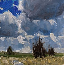 """Aaron Johnson's oil painting """"Afternoon Clouds"""" was selected for the 2013 Moscow Artwalk cover."""