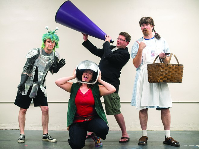 The Lewiston Civic Theatre cast of Completely Hollywood (abridged) from left: Travis Osburn, Carrie DeBerard, Gary Wilson and Matthew DeBerard pose for a portrait on Thursday, July 12 in Lewiston. - TRIBUNE/PETE CASTER