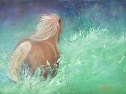 """""""Into the Great Unknown,"""" is an oil painting by Ivette Kjelsrud of Huson, Mont., one of nearly 120 artists selling work at this year's Art Under the Elms."""
