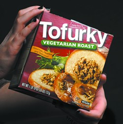 Tofurky Roast comes round, wrapped in plastic in a cardboard box. Roasts can be found at the Moscow Food Co-Op or in the Huckleberry's section of Rosauers.
