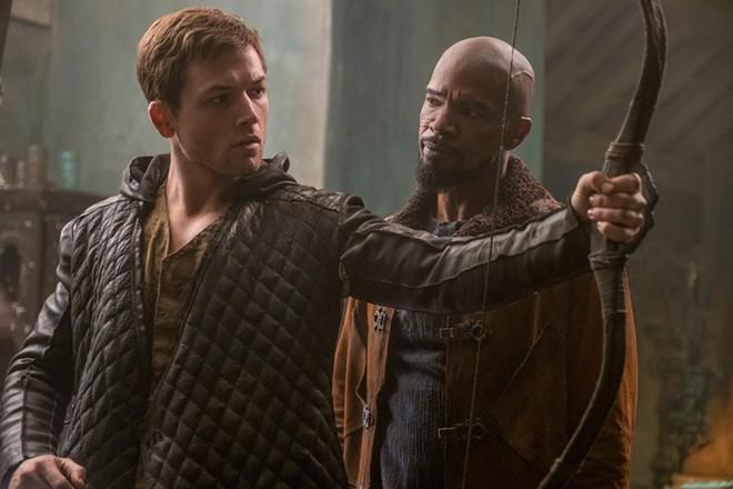 "Taron Egerton and Jamie Foxx in a scene from Summit Entertainment's ""Robin Hood."" - LARRY HORRICKS"