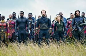 """Front row from left: Danai Gurira, Chadwick Boseman, Chris Evans, Scarlet Johansson and Sebastian Stan are shown in a scene from """"Avengers: Infinity War,"""" premiering Friday. -- Associated Press"""