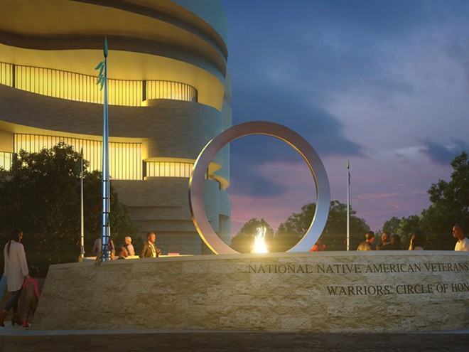 """The multimedia artist Harvey Pratt's """"Warriors' Circle of Honor"""" will incorporate an enormous, upright stainless steel circle. - NATIONAL MUSEUM OF THE AMERICAN INDIAN"""