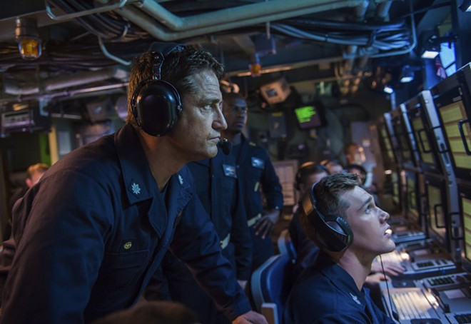 """This image released by Lionsgate shows Gerard Butler in a scene from """"Hunter Killer"""" - JACK ENGLISH/LIONSGATE VIA AP"""