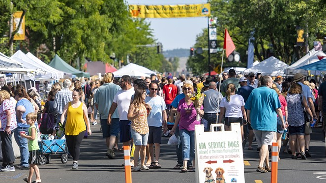 In this Aug. 3, 2019 file photo, people fill up Main Street as they peruse the offerings at the Moscow Farmers Market., - PETE CASTER/TRIBUNE FILE PHOTO