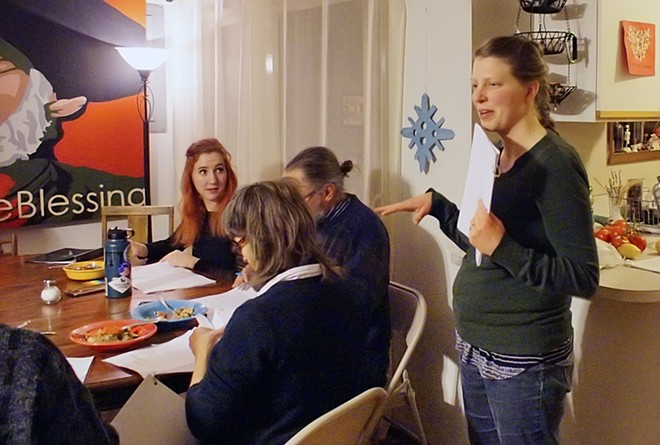 """Director Rebecca Haley talks to cast members of Moscow Community Theatre's upcoming show, """"The Man Who Came to Dinner"""", at the group's first read through at Haley's home December 13. , - KAI EISELEIN/DAILY NEWS"""