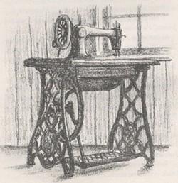 Ma's sewing machine, illustration by Garth Williams