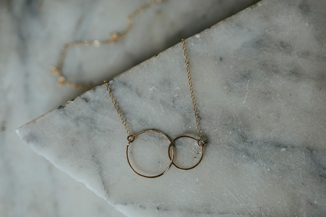 Linked circle necklace by Nara Woodland.