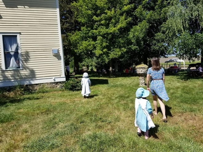 Children arrive in costume for Little House Day 2018 at White Spring Ranch outside Genesee.