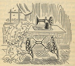 Ma's sewing machine, original illustration by Helen Sewell