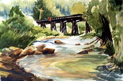 """This work by the late Leo Edwin Ames is titled """"Idaho River Tressle 1969."""" - PETER ROISE"""