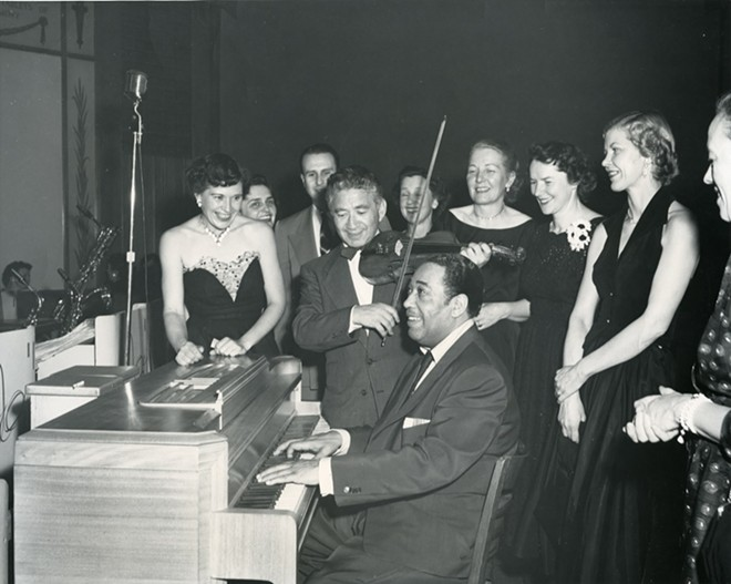 "Duke Ellington performing at Moscow Elks Lodge ""big band"" dance, late 1950s. Photo courtesy Latah County Historical Society."