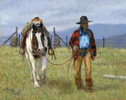 """This work by Kaye York is titled """"Back to the Trailer"""" and will be on exhibit at the Valley Art Center."""