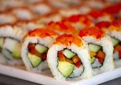 Veggie roll is one of the varieties of sushi than Jonathan Rau sells at One World Cafe in Moscow.