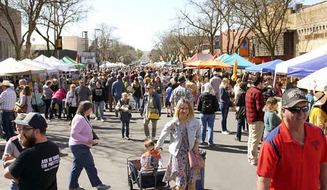 Shoppers fill downtown Moscow for the first farmers market of the season Saturday morning. - KAI EISELEIN/DAILY NEWS