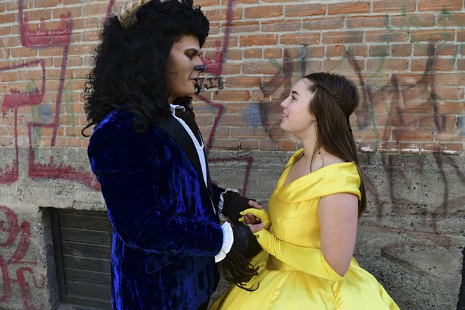 Derek Renzelman is the Beast and Sydnee Jo Swift is Belle in the Lewiston Civic Theater production of Disney's Beauty and the Beast. - TRIBUNE/BARRY KOUGH