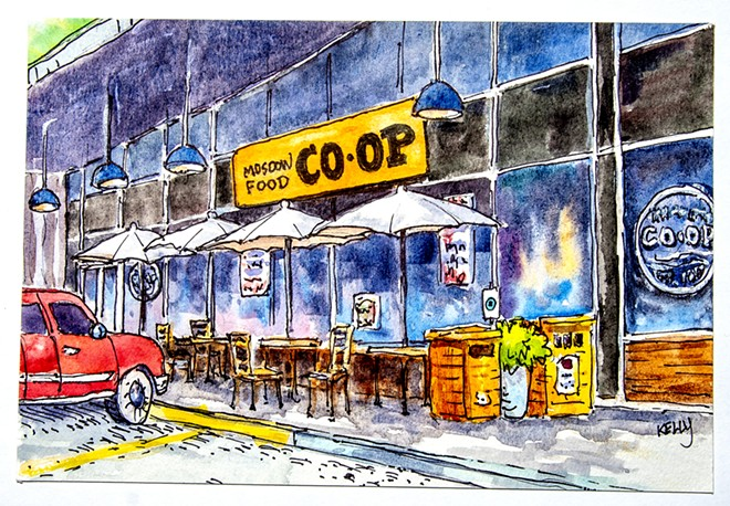 Moscow Foods Co-op is pictured in Bobbi KellyÕs artwork. , - AUGUST FRANK/INLAND 360