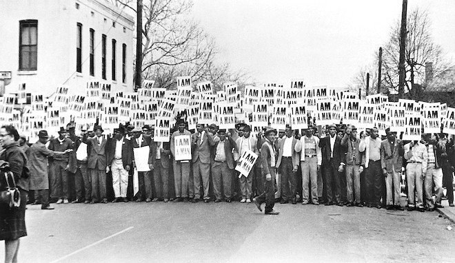 Sanitation Workers Assembling for a Solidarity March, Ernest C. Withers, Memphis, March 28, 1968; From the NEH on the Road exhibition For All the World to See: Visual Culture and the Struggle for Civil Rights. 2011