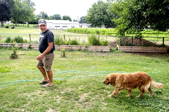 Wes Barnes makes his way towards the barn followed closely behind by the families golden retriever Rogue at their home and farm on Saturday. August Frank/Tribune - AUGUST FRANK/TRIBUNE