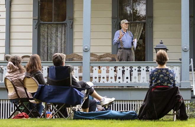 """Steve Talbott talkes about homesteading during a meeting of the Lula's Library book group on Wednesday, Sept. 23, outside McConnell Mansion in Moscow. The group is reading """"Four Girls On A Homestead,"""" by Carol Ryrie Brink. Geoff Crimmin/Moscow-Pullman Daily News - GEOFF CRIMMINS/DAILY NEWS"""