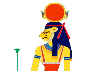This image depicts Tefnut, an Egyptian goddess.