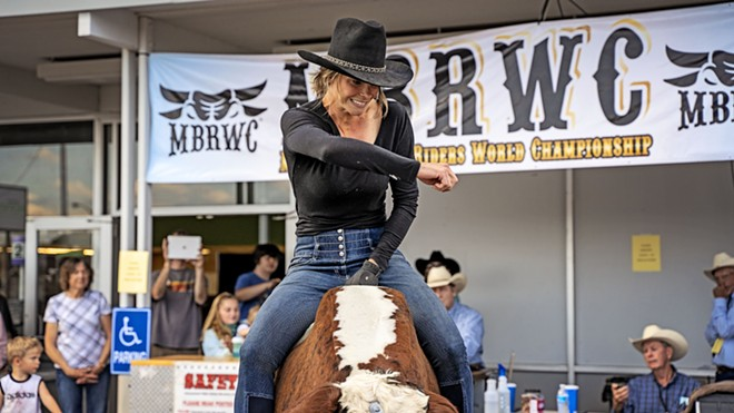 Laura Moore, an equestrian coach at Washington State University in Pullman, is the reigning Mechanical Bull Riders World Champion. - PHOTO COURTESY MECHANICAL BULL RIDERS