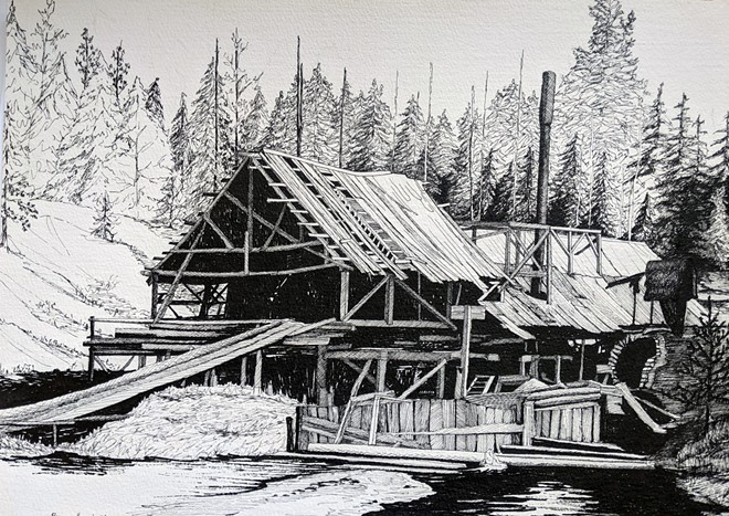 """A pen-and-ink sketch of a log mill by Byron """"Barney"""" Saneholtz"""