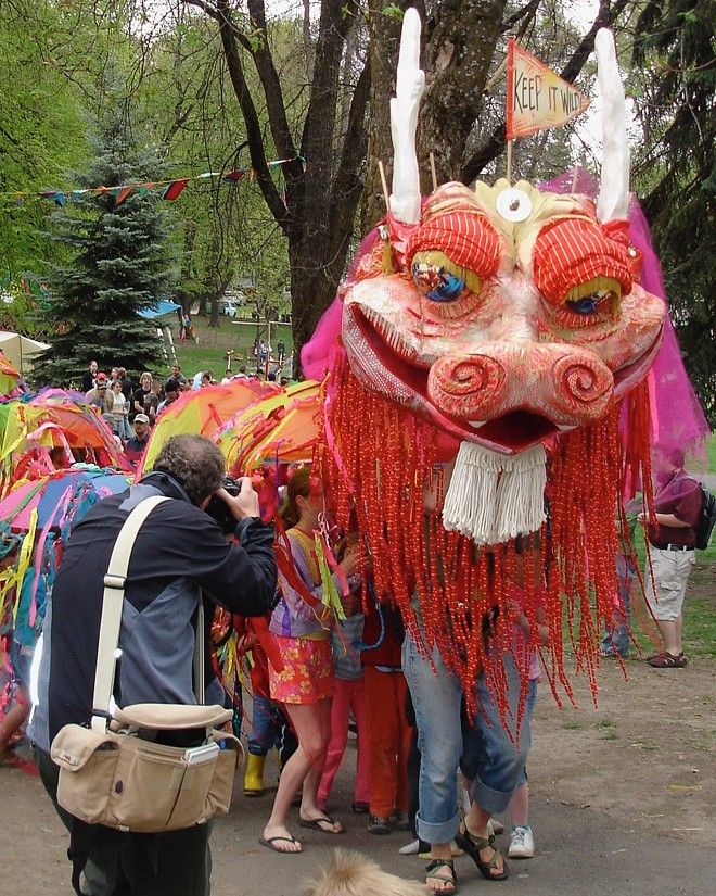 A photo of Wild Thang on parade. Lawrence believes the dragon is likely one of the most photographed things in Moscow.