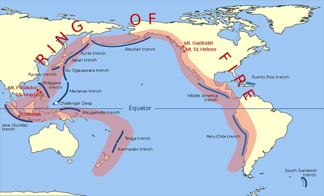 Do you know what percentage of Earth's volcanic eruptions take place in the Pacific Ocean's Ring of Fire?