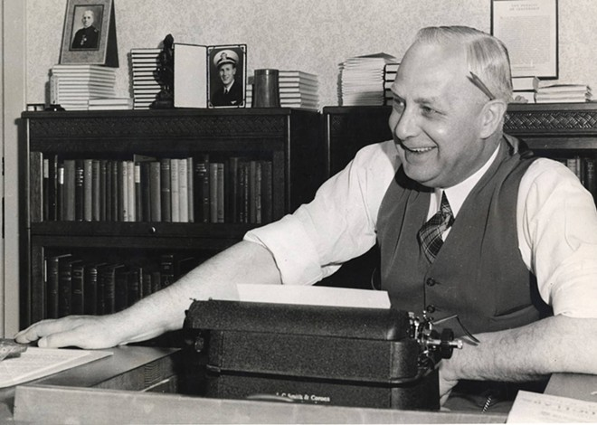 A 1938 photograph of Frank B. Robinson sitting at a desk behind his typewriter. - PSYCHIANA DIGITAL COLLECTION, DIGITAL INITIATIVES, UNIVERSITY OF IDAHO LIBRARY