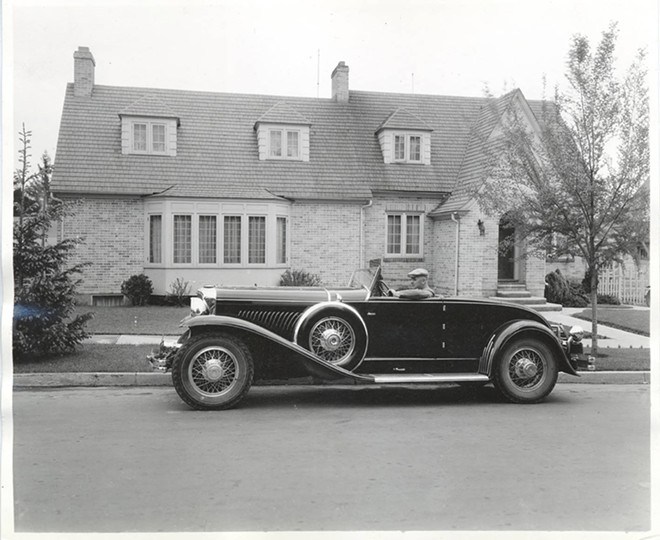Photograph of Frank B. Robinson in his Duesenberg convertible coupe. - PSYCHIANA DIGITAL COLLECTION, DIGITAL INITIATIVES, UNIVERSITY OF IDAHO LIBRARY
