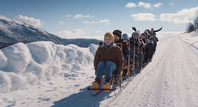 """This photo provided by the Manhattan Short Film Festival, shows a movie still from Torfinn Iversen's film """"The Kicksled Choir."""" The movie will be shown at the film festival at the Liberty Theater in Dayton."""