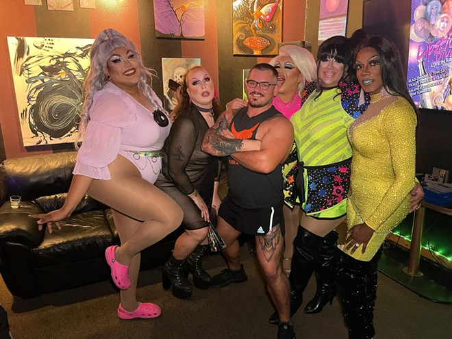 Divas stand with Jerid Lisher-Weinberg, the owner/manager of the production company Lipstick Divas, that will be performing Saturday in Lewiston. - PHOTOS COURTESY LIPSTICK DIVAS