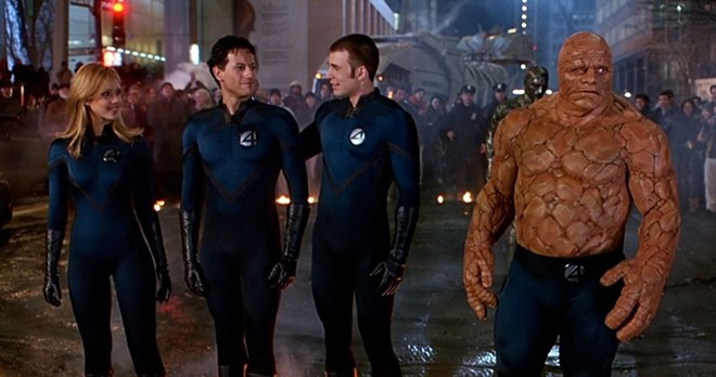 """This photo from the 2005 """"Fantastic Four"""" film shows the cast (from left) Sue Storm (Jessica Alba), Reed Richards (Ioan Gruffudd), Johnny Storm (Chris Evans) and Ben Grimm (Michael Chiklis). - PHOTO FROM IMDB"""
