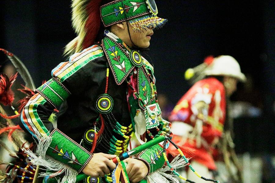 14 year old Ardon McDonald, of the Salish Tribe and Blackfeet Nation, dances. - YOUNG KWAK