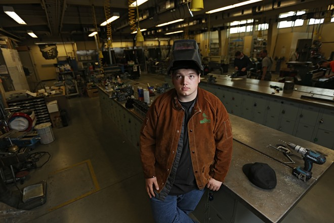 Senior David J. Darrow, 18, at Shadle Park High School, would like to attend the Oxarc welding school, but doesn't know how he will come up with the $10,000 tuition. - YOUNG KWAK