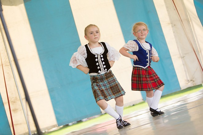 Five-year-old Londynne Stratton, left, and her 4-year-old sister Keegan dance the Pas de Basques and High Cuts. - YOUNG KWAK