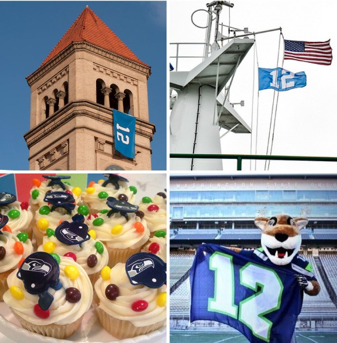 Clockwise from top left: 12th Man flag in Riverfront Park; 12th Man flag on Washington state ferries; WSU mascot Butch decked out in Seahawks gear; Seahawks cupcakes from Sweet Frostings.